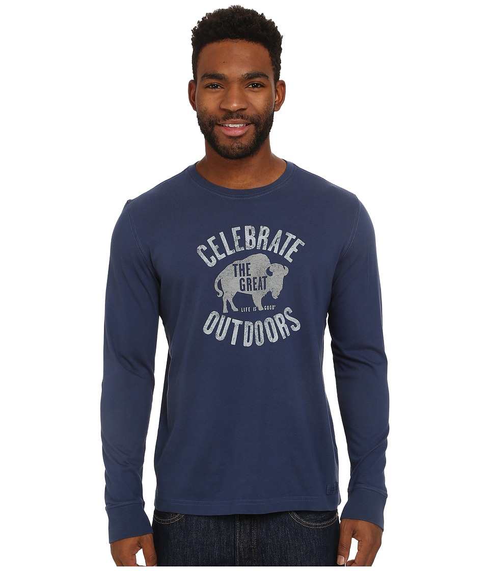 Life is good - Crusher Long Sleeve Tee (Darkest Blue/Bison Outdoors) Men's Long Sleeve Pullover