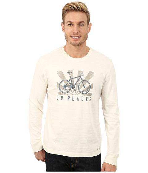 Life is good - Crusher Long Sleeve Tee (Simply Ivory/Go Places Bike) Men's Long Sleeve Pullover