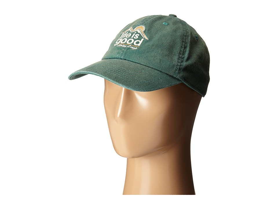 Life is good - Rough Wash Cap (Hunter Green) Baseball Caps