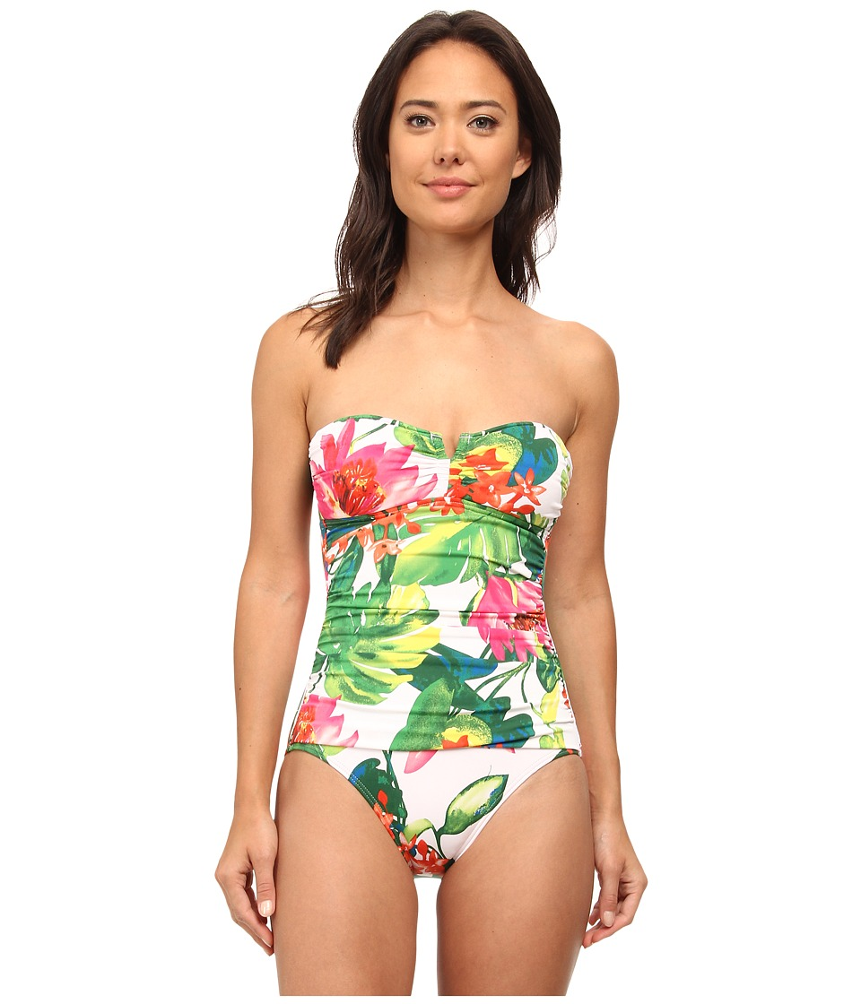 Tommy Bahama - White Tropical Bandeau One-Piece (White) Women
