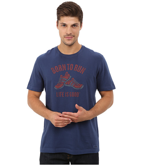 Life is good - Crusher Tee (Darkest Blue/Born To Run Shoes) Men