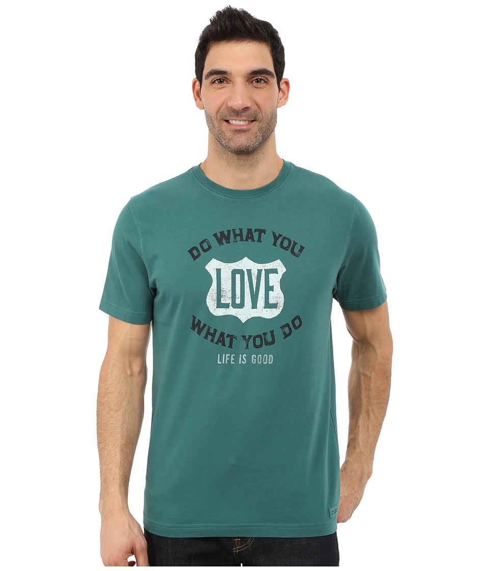 Life is good - Crusher Tee (Hunter Green/DWYL Shield) Men's T Shirt