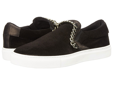 Just Cavalli - Suede Slide w/ Chain Detail (Black) Men's Shoes