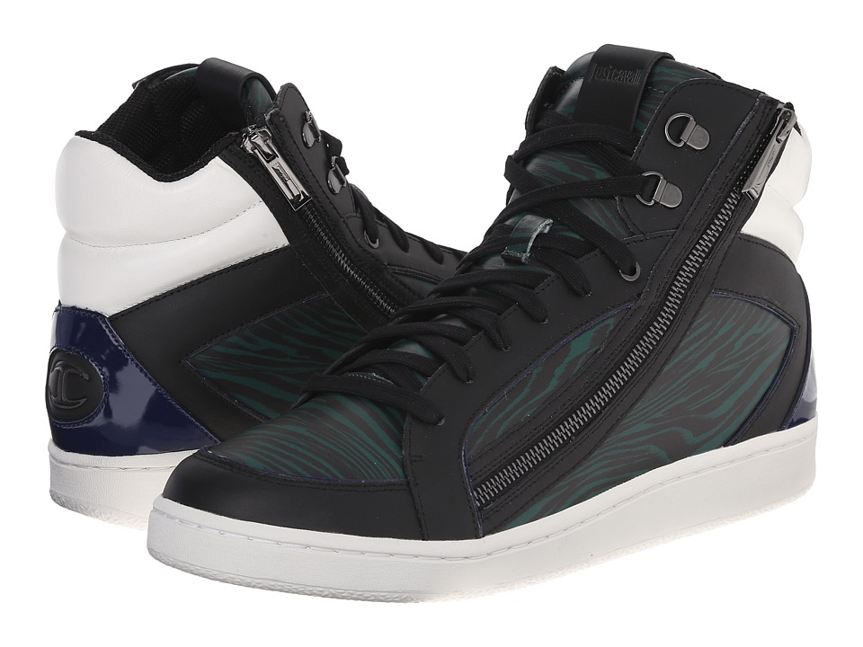 Just Cavalli - Night Sound Zebra Printed High Top (Dark Green Variant) Men's Shoes