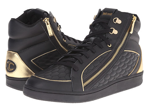 Just Cavalli - Quilted Nappa/Metallic Leather High Top (Black) Men's Shoes