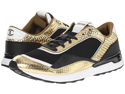 Just Cavalli - Metallic Studded Sneaker (Gold) Men's Shoes