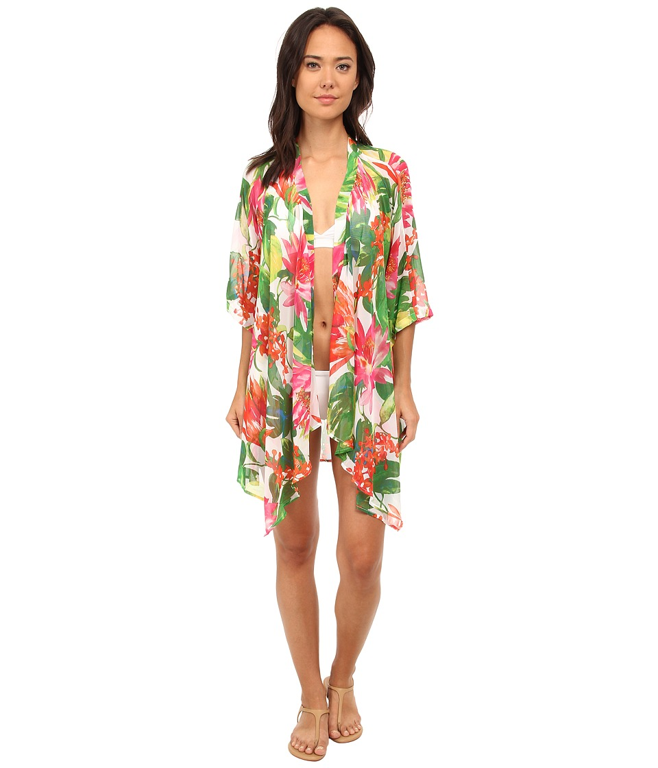 Tommy Bahama - White Tropical Kimono Cover-Up (White) Women's Swimwear