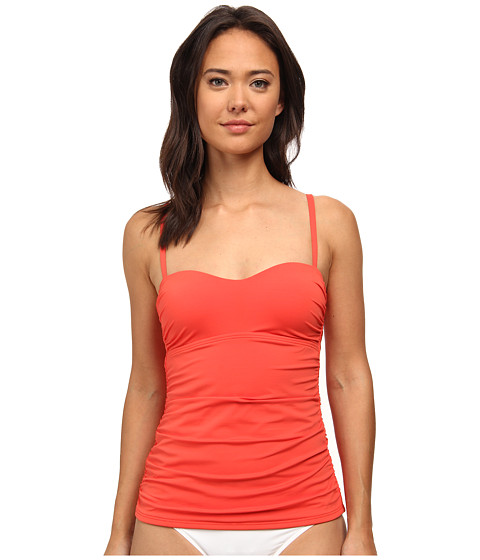 Tommy Bahama - Pearl Over The Shoulder Long Tankini Top (Hot Spice) Women