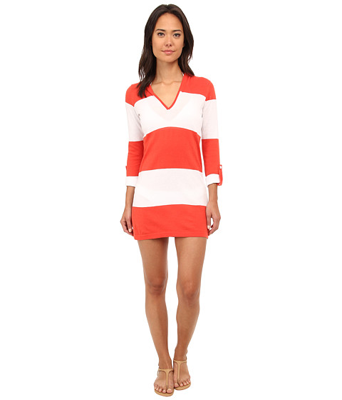 Tommy Bahama - Bold Stripe Beach Sweater Cover-Up (White/Hot Spice) Women's Swimwear