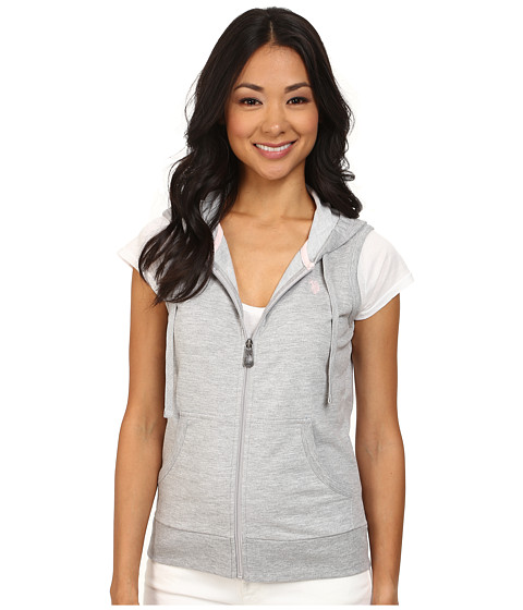 U.S. POLO ASSN. - Janet Zip Front French Terry Hoodie (Light Grey Heather) Women's Sweatshirt