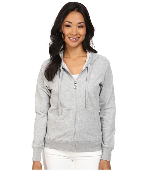 U.S. POLO ASSN. - Elayne Zip Front French Terry Hoodie (Light Grey Heather) Women's Sweatshirt