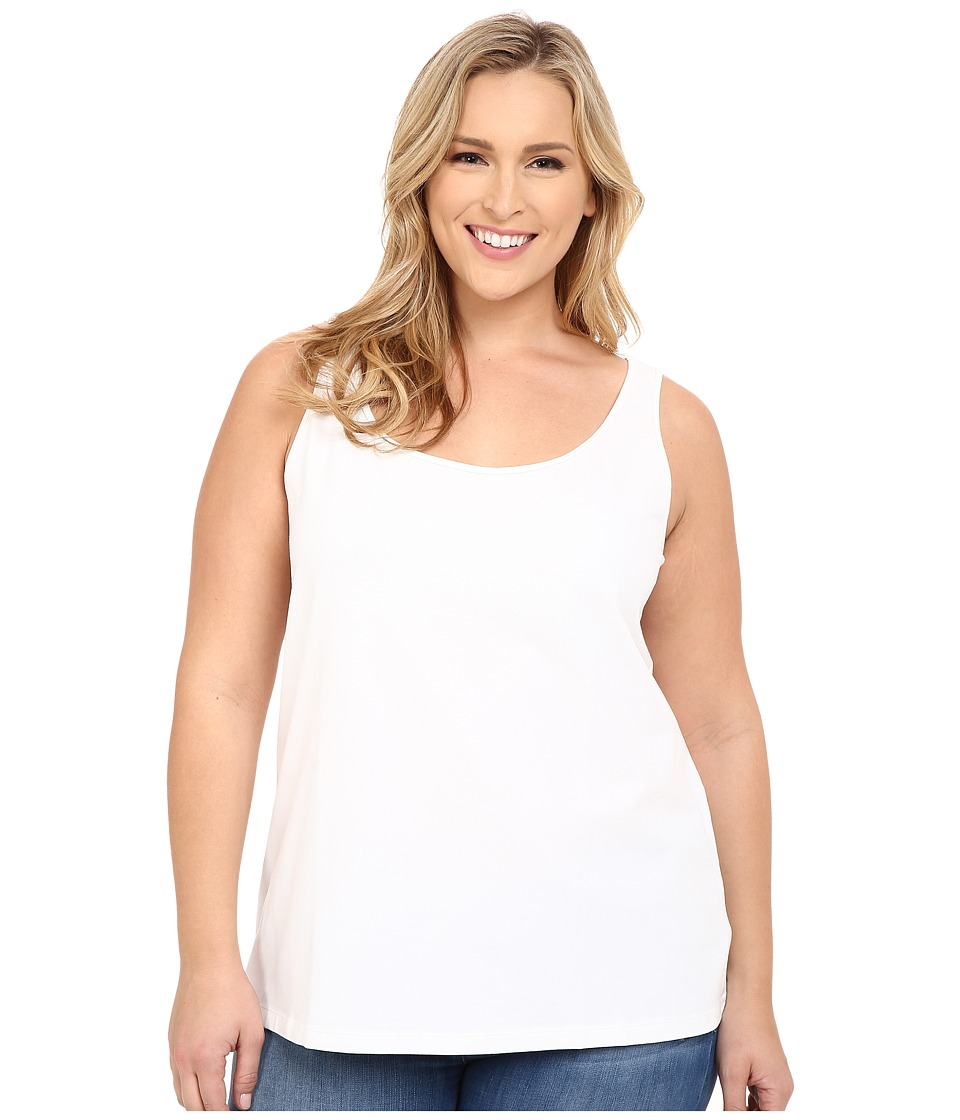NIC+ZOE - Plus Size Perfect Scoop Tank (Paper White) Women's Sleeveless