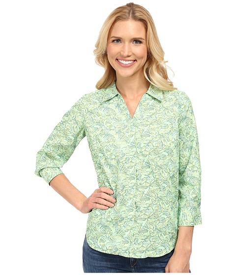 Royal Robbins - Light Expedition 3/4 Sleeve Print Top (Emerald) Women