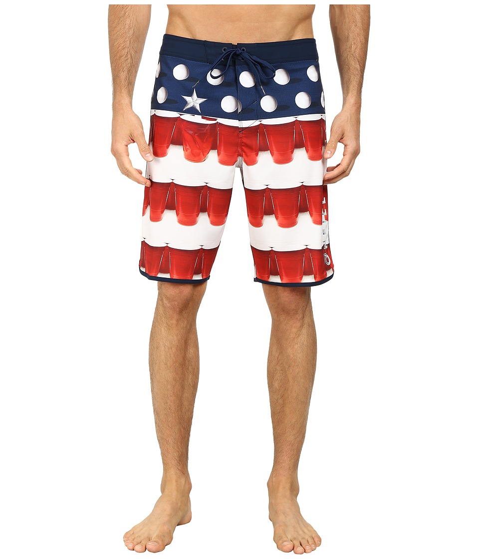 O'Neill - Beer Pong Scallop Boardshorts (Red) Men's Swimwear