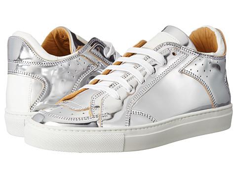 MM6 Maison Margiela - Logo Metallic Low Top Sneaker (Silver/White) Women's Shoes