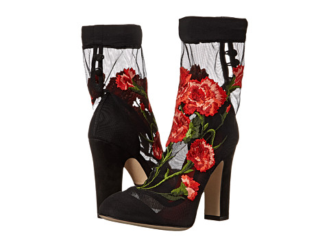Dolce & Gabbana - Suede Pump w/ Floral Ankle Sock (Nero/Multi) Women's Pull-on Boots
