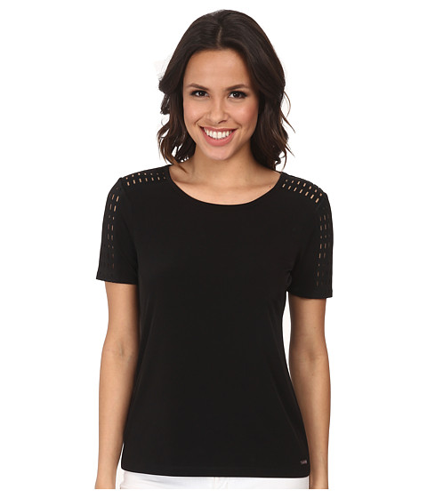 Calvin Klein - Top w/ Perforated Scuba (Black) Women's Clothing