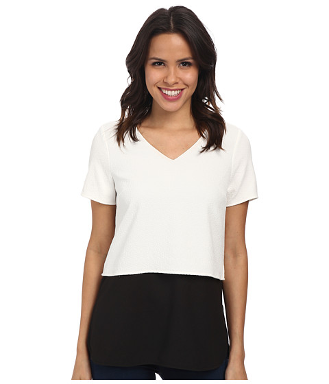 Calvin Klein - Double Layer Dolman Top (Soft White) Women's Clothing