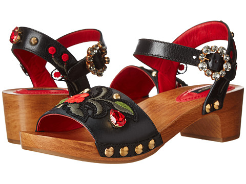Dolce & Gabbana - Wood Base Sandal w/ Floral Applique (Nero) Women