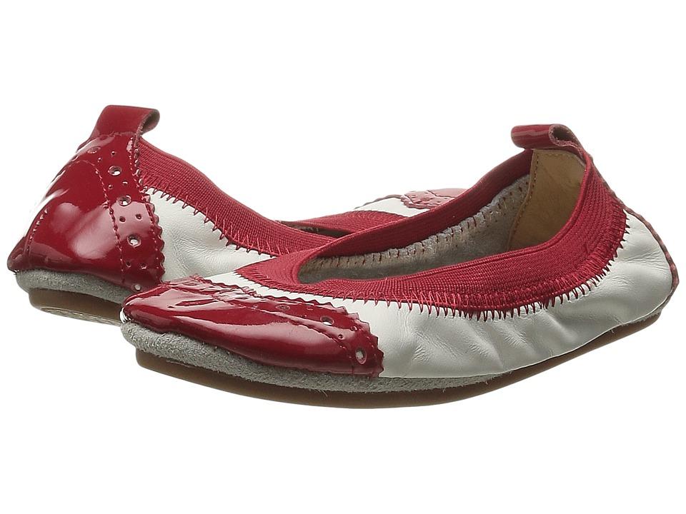 Yosi Samra Kids - Sachi Super Soft Ballet Flat (Toddler/Little Kid/Big Kid) (White/Red) Girls Shoes