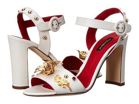 Dolce & Gabbana - Embellished Heeled Sandal (Bianco Ottico) High Heels