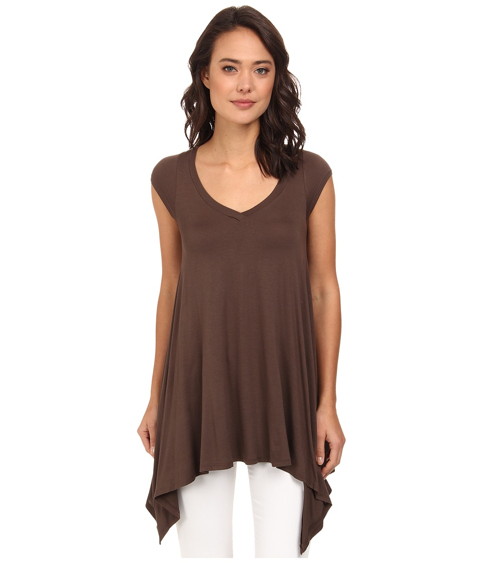Culture Phit - Sandy Cap Sleeve Tunic (Chocolate) Women's Blouse