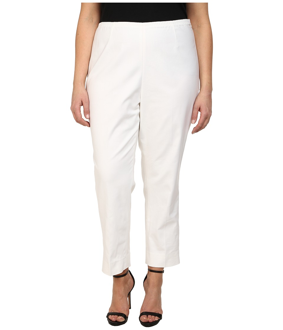 NIC+ZOE - Plus Size Perfect Side Zip Ankle Pants (Paper White) Women's Casual Pants