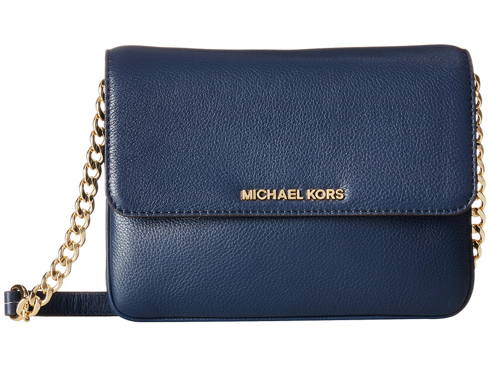 MICHAEL Michael Kors - Bedford Double Gusset Crossbody (Navy) Cross Body Handbags