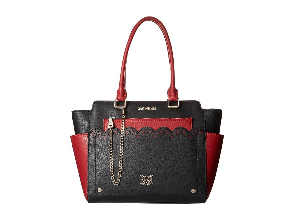 LOVE Moschino - Eyelets Removable Clutch Tote (Black/Red) Tote Handbags