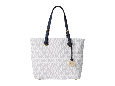 MICHAEL Michael Kors - Jet Set Item East/West Signature Tote (Navy/White) Tote Handbags