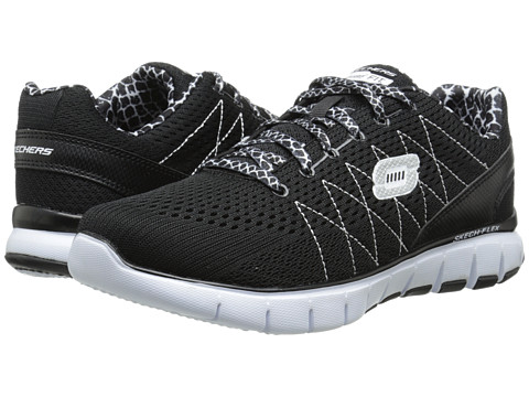 SKECHERS - Skech-Flex (Black White) Women's Shoes