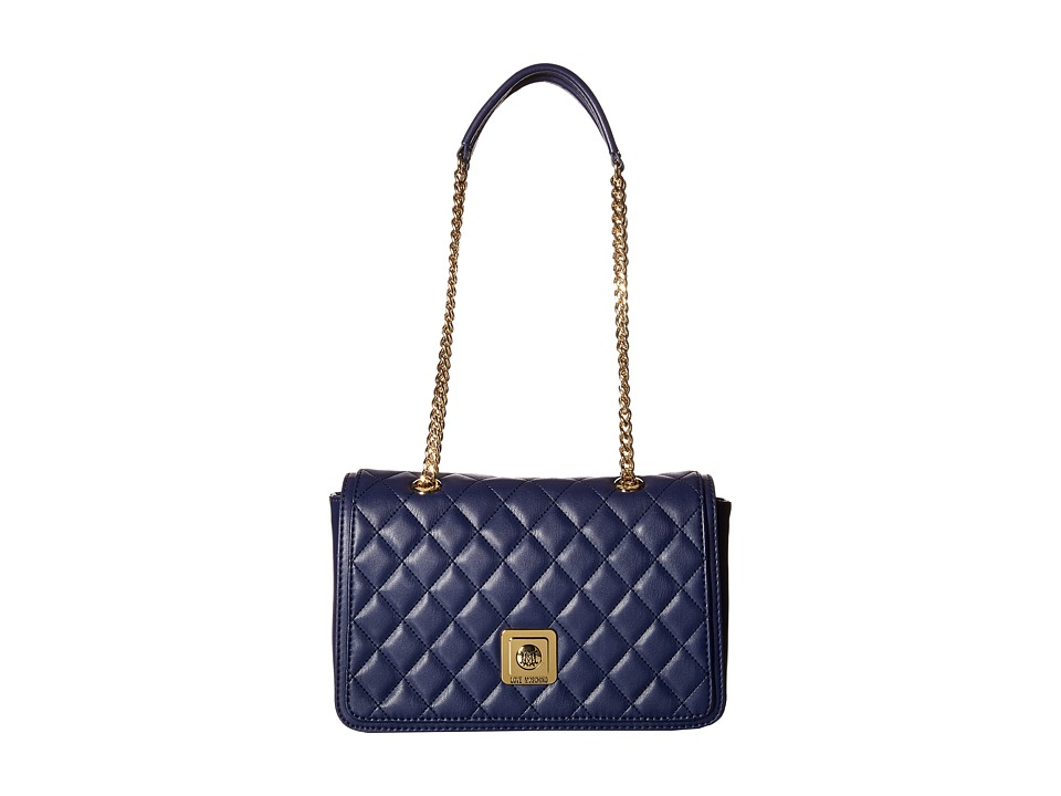 LOVE Moschino - I Love Superquilted Flap Bag (Navy) Bags
