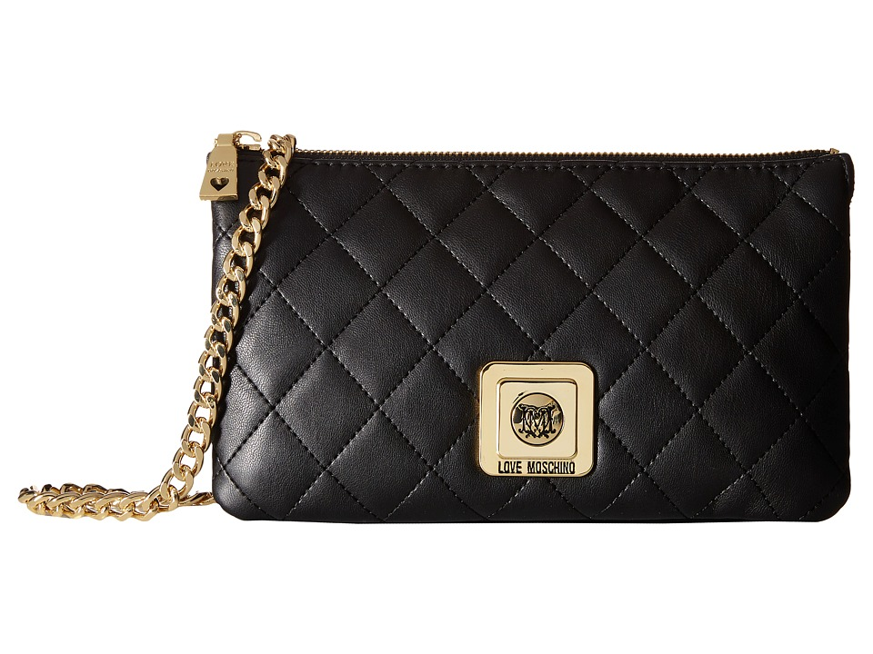 LOVE Moschino - I Love Superquilted Evening Crossbody Bag (Black) Cross Body Handbags