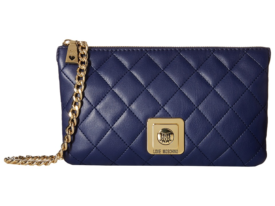 LOVE Moschino - I Love Superquilted Evening Crossbody Bag (Navy) Cross Body Handbags