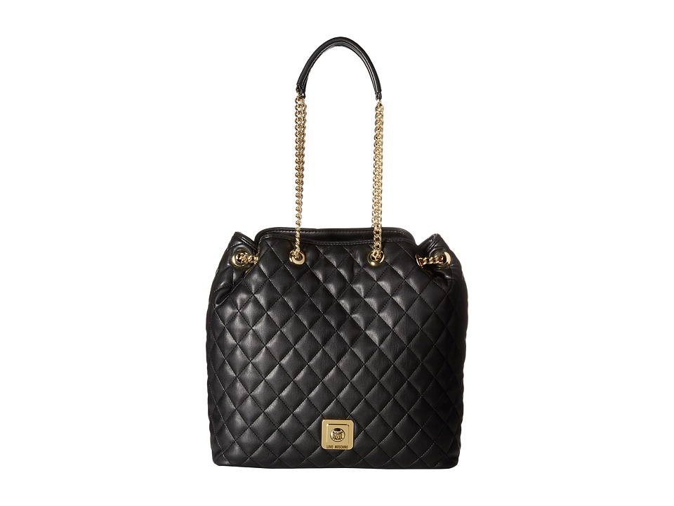 LOVE Moschino - I Love Superquilted Bucket Bag (Black) Shoulder Handbags