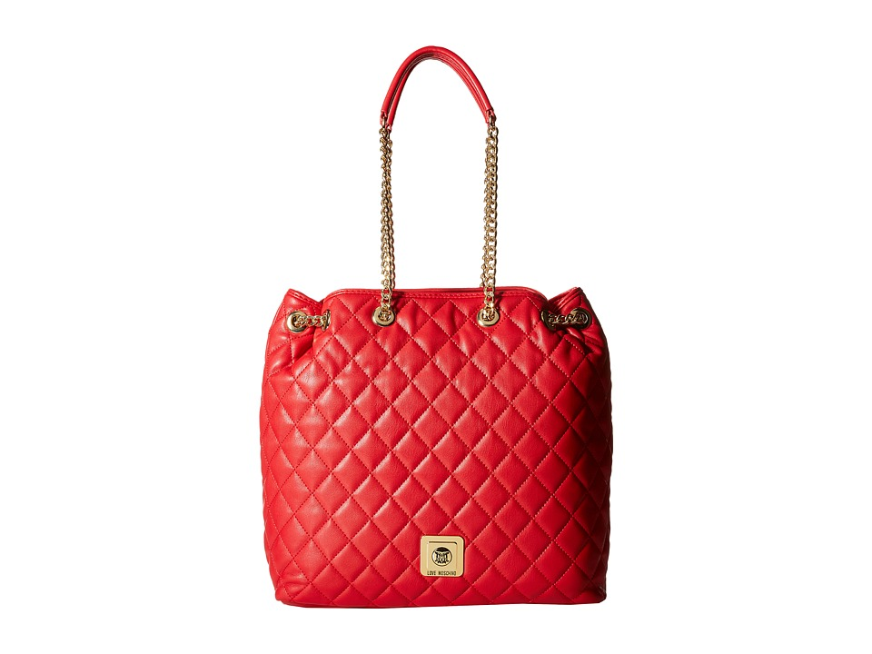 LOVE Moschino - I Love Superquilted Bucket Bag (Red) Shoulder Handbags