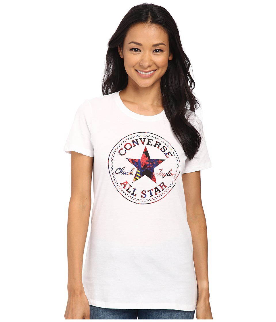 Converse - Pop Chuck Patch Footwear Fill Short Sleeve Crew Tee (White) Women