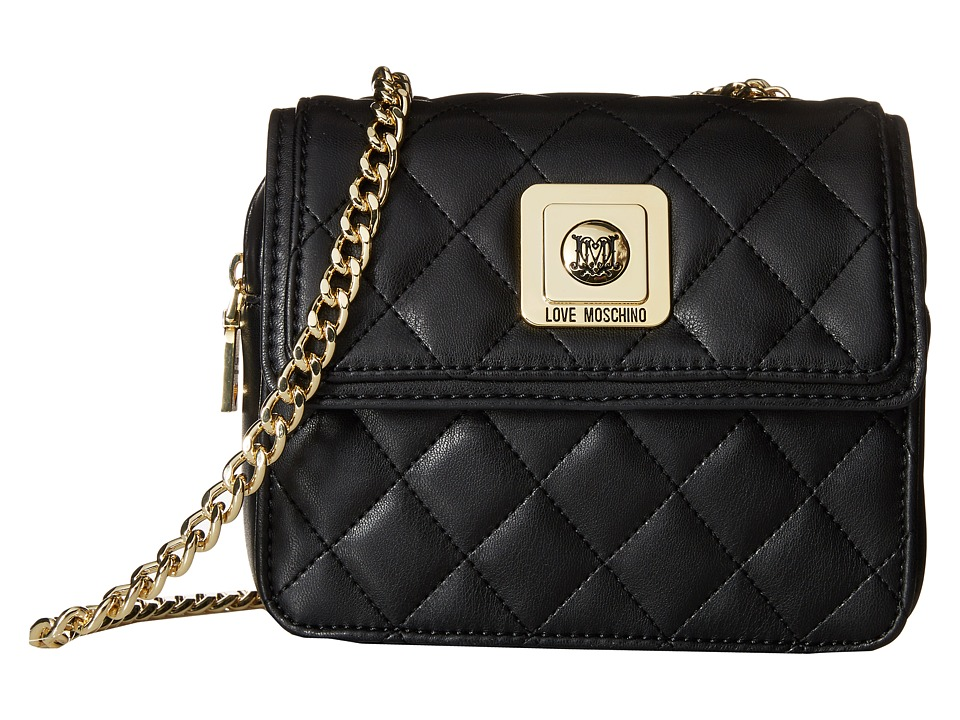 LOVE Moschino - I Love Superquilted Mini Flap Bag (Black) Bags