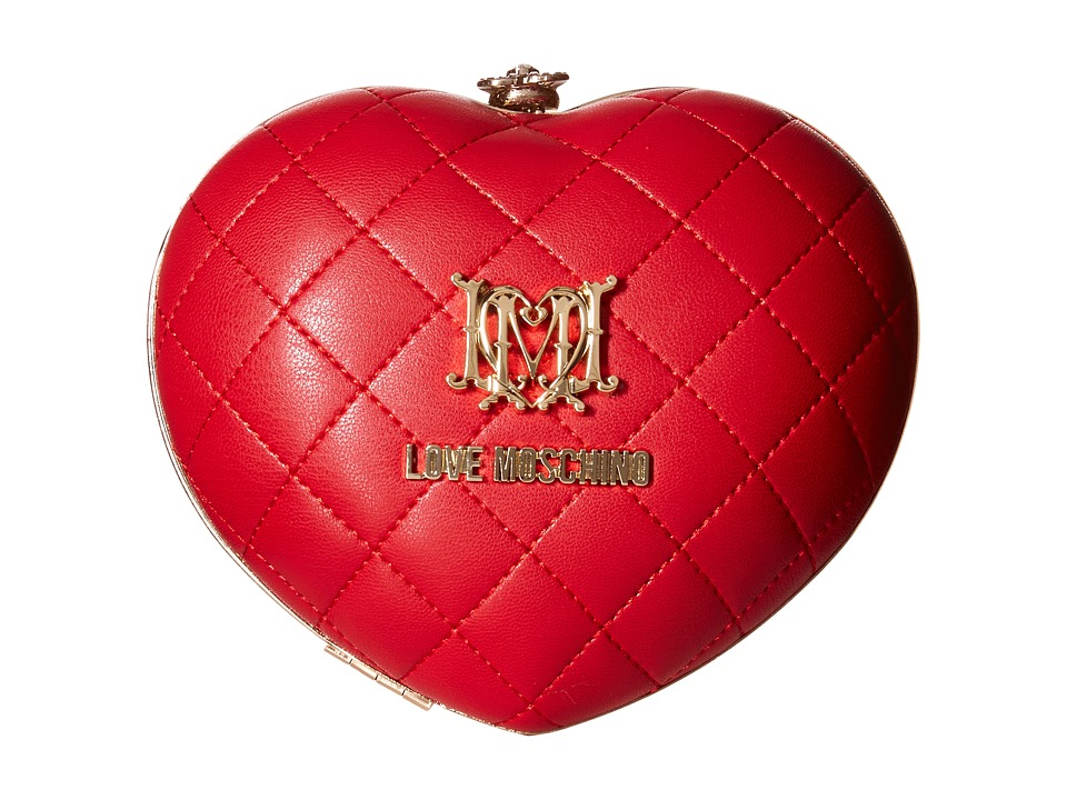 LOVE Moschino - Heart Quilted Evening Clutch (Red) Clutch Handbags