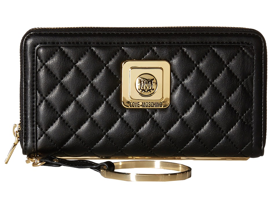 LOVE Moschino - Quilted Gold Braceleted Wristlet (Black) Wristlet Handbags
