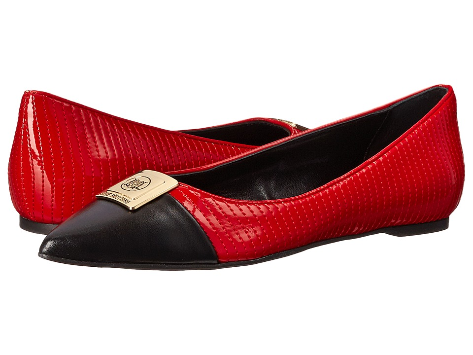 LOVE Moschino - Bicolor Ballerina Flats (Black/Red) Women's Slip-on Dress Shoes