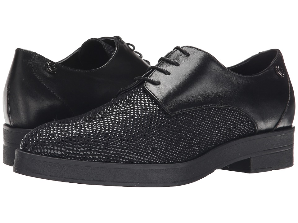 LOVE Moschino - Leather Oxford Shoe (Black) Women's Lace up casual Shoes