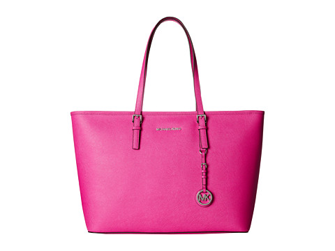 MICHAEL Michael Kors - Jet Set Travel Medium Top Zip Mult Funt Tote (Raspberry) Tote Handbags