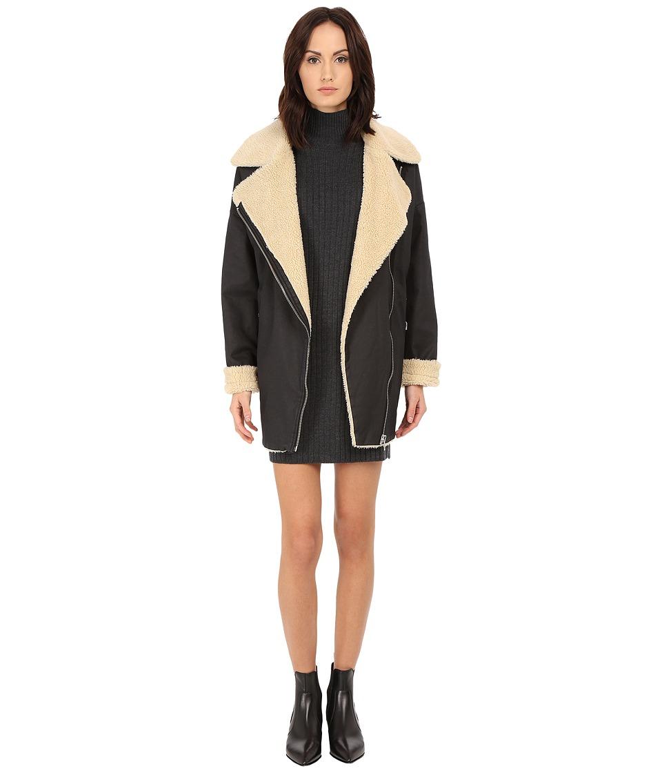 LOVE Moschino - Moto Sherpa Coat (Black) Women's Coat