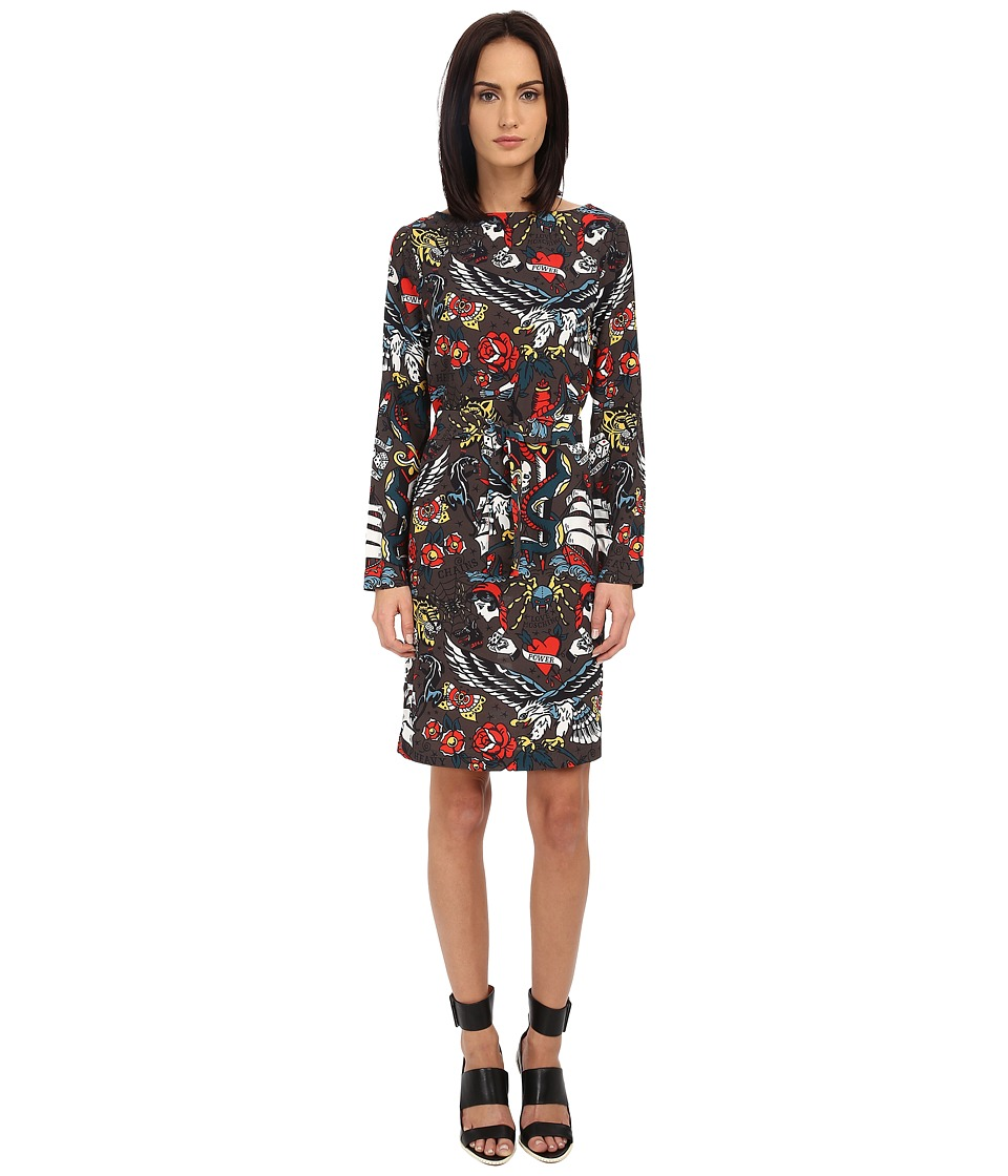 LOVE Moschino - Printed Silk Dress (GRAY/PR TATTOO) Women's Dress