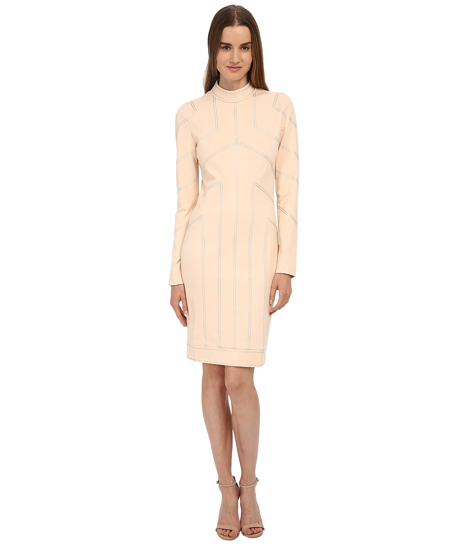 LOVE Moschino - Long Sleeve Structured and Seamed Dress (Light Brown) Women