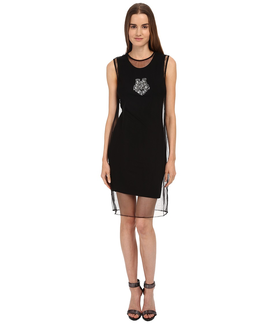 LOVE Moschino Tank Dress w/ Sheer Overlay (Black) Women