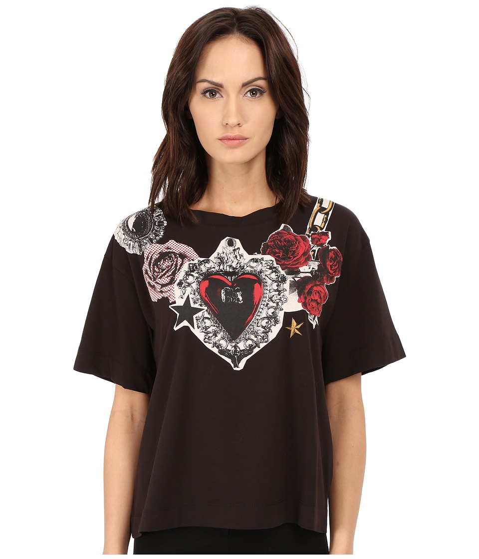 LOVE Moschino - Floral Placed Printed T-Shirt (Black) Women's T Shirt