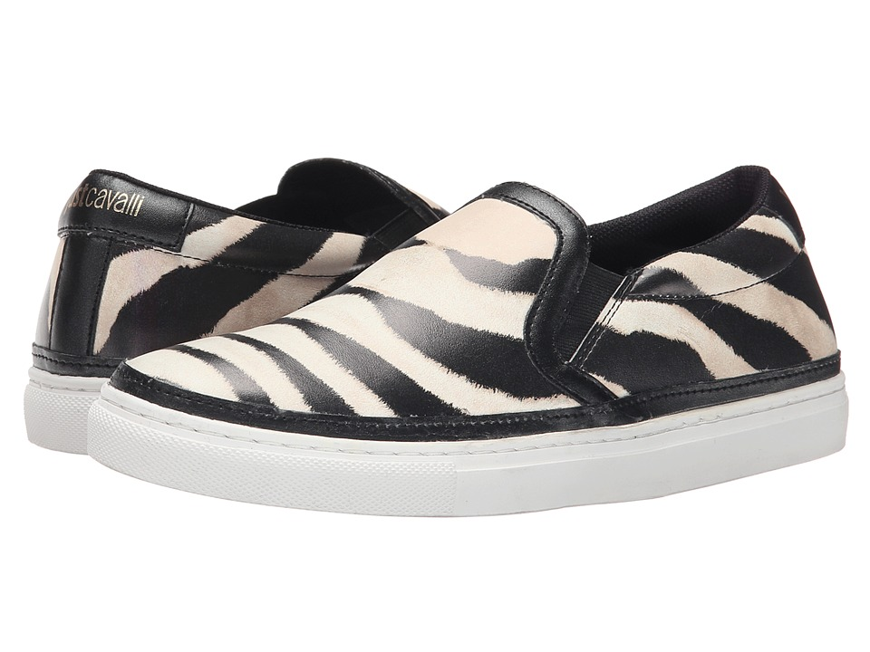 Just Cavalli - Poetic Zebra Printed Nappa (Pearl Variant) Women's Slip on Shoes