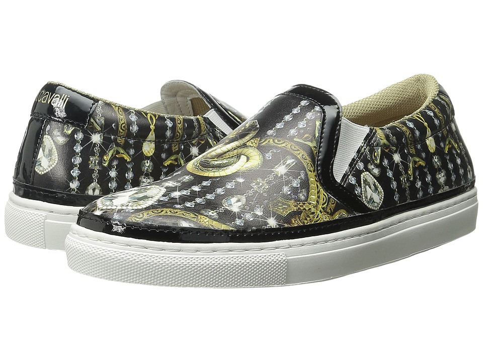 Just Cavalli - Leo Crystal Printed Nappa (Black Variant) Women's Slip on Shoes